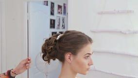 Cabeleireiro profissional, cabeleireiro que põe a bureta brilhante no cabelo do cliente vídeos de arquivo