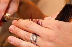 Cabeleireiro que corta o cabelo Fotografia de Stock