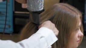 Cabello seco del peluquero de la mujer joven Mujer en salón de belleza de la peluquería almacen de video