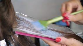 Cabelo da coloração do cabeleireiro no estúdio vídeos de arquivo
