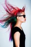 Cabelo da cor do movimento da menina magnífico Fotos de Stock Royalty Free