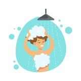 Cabelo de lavagem da menina no chuveiro, parte dos povos no banheiro que faz sua série rotineira dos procedimentos da higiene ilustração do vetor