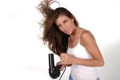 Cabelo de secagem 3 da mulher bonita Imagens de Stock