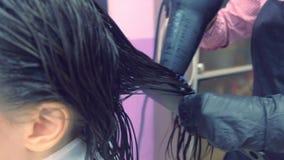 Cabelo de secagem do barbeiro com secador de cabelo Reforçando o cabelo com queratina vídeos de arquivo