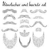 Cabelo do homem, bigode, coleção das barbas Elementos retros altamente detalhados da forma do moderno no a lápis estilo do esboço Imagem de Stock Royalty Free