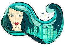 Cabelo e cidade da menina ilustração royalty free