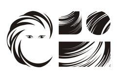 Cabelo e logotipos ou ícones da beleza Fotografia de Stock