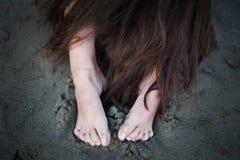 Cabelo e pés Fotografia de Stock
