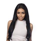 Cabelo longo da cara bonita da jovem mulher imagens de stock