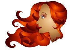Cabelo longo da mulher do Redhead ilustração do vetor