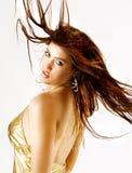 Cabelo longo de uma beleza da dança Fotografia de Stock Royalty Free