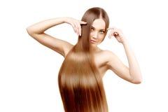 Cabelo longo hairstyle Mulher da beleza com cabelo preto liso saudável e brilhante longo Modelo de forma com cabelo brilhante Fotografia de Stock Royalty Free