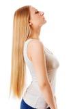 Cabelo louro Mulher bonita com cabelo longo reto Imagem de Stock
