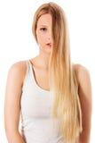 Cabelo louro Mulher bonita com cabelo longo reto Fotografia de Stock Royalty Free