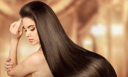 Cabelo marrom saudável Menina modelo da beleza Mulher triguenha bonita Fotografia de Stock