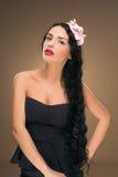 Cabelo preto longo Retrato da mulher da forma Imagens de Stock
