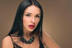 Cabelo preto longo Retrato da mulher da forma Foto de Stock