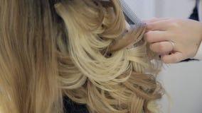Cabelo profissional dos clientes da trança do cabeleireiro no penteado do casamento video estoque