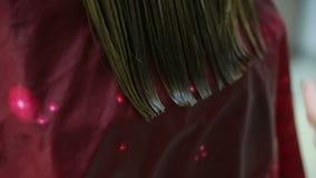 Cabelo profissional dos clientes do corte do cabeleireiro video estoque