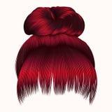 Cabelos do bolo com cores vermelhas da franja estilo da beleza da forma das mulheres Fotografia de Stock