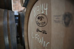 Cabernet Franc aging in new oak wine barrels Royalty Free Stock Image