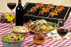 Cabernet picnic. BBQ picnic, with cabernet wine, all logos removed Stock Photography