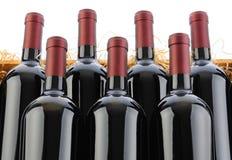 Cabernet - sauvignon Wine buteljerar i spjällåda med sugrör royaltyfria bilder