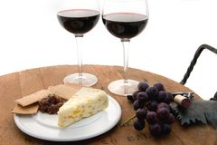 Cabernet Serving Tray. Cabernet Picnic being served on a wine barrel service tray Royalty Free Stock Image