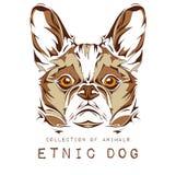 Cabeza étnica del perro en el diseño blanco del tótem/del tatuaje del fondo Uso para la impresión, carteles, camisetas Ilustració Imagenes de archivo