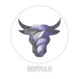 Cabeza abstracta del búfalo de la silueta Ilustración Imagen de archivo