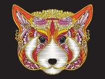 Cabeza adornada modelada étnica del bordado de la panda roja Fotos de archivo libres de regalías