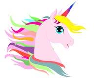 Cabeza blanca del vector del unicornio de la web con la melena y el cuerno en fondo estrellado libre illustration