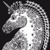 Cabeza, bleack y blanco estilizados del unicornio del perfil Fotos de archivo