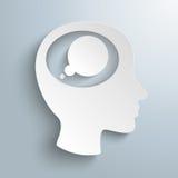 Cabeza Brain Thought Bubble del Libro Blanco Imagen de archivo