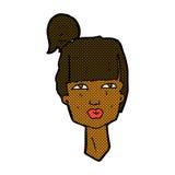 cabeza cómica de la hembra de la historieta Imagen de archivo