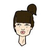 cabeza cómica de la hembra de la historieta Foto de archivo