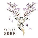 Cabeza coloreada étnica de ciervos con las ramas en los cuernos diseño del tótem/del tatuaje Uso para la impresión, carteles, cam Imagenes de archivo