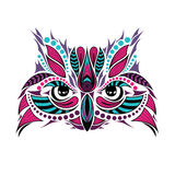 Cabeza coloreada modelada del búho Diseño africano/del indio/del tótem/del tatuaje Foto de archivo