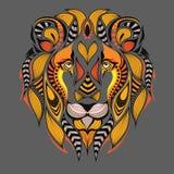 Cabeza coloreada modelada del león Diseño africano/del indio/del tótem/del tatuaje Puede ser utilizado para el diseño de una cami libre illustration