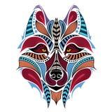 Cabeza coloreada modelada del lobo Diseño africano/del indio/del tótem/del tatuaje ilustración del vector