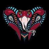 Cabeza coloreada modelada del rey Cobra Diseño africano, indio del tatuaje Puede ser utilizado para el diseño de una camiseta, bo Imagen de archivo libre de regalías