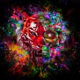 Cabeza colorida del tigre con el medio cráneo Fotografía de archivo libre de regalías