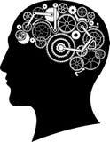 Cabeza con el cerebro del engranaje Imagen de archivo libre de regalías
