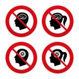 Cabeza con el icono del cerebro Varón y ser humano femenino Imagenes de archivo