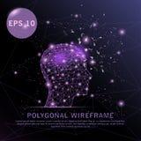 Cabeza con el marco futurista del alambre del fondo púrpura del cerebro stock de ilustración