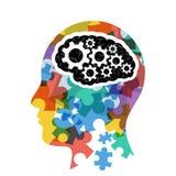 Cabeza con la presentación del concepto del cerebro del ordenador stock de ilustración