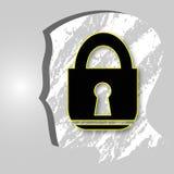 Cabeza con un icono de la cerradura Fotos de archivo libres de regalías
