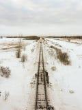 Cabeza de arriba en la vista de pistas en invierno imágenes de archivo libres de regalías