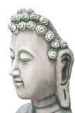 Cabeza de Buda aislada en blanco Imagen de archivo