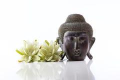 Cabeza de Buda en un fondo y un loto blancos Imagen de archivo libre de regalías